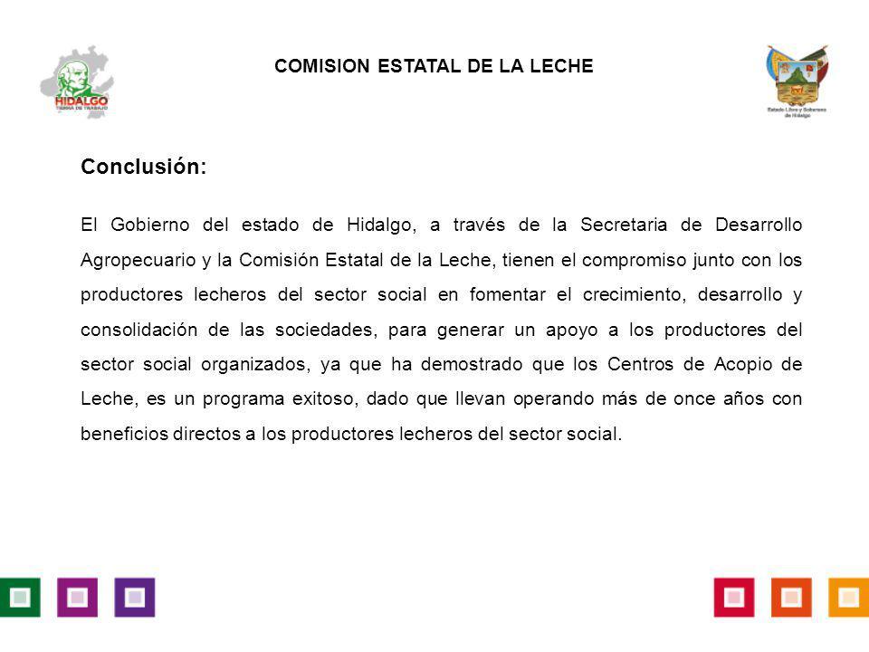 Conclusión: El Gobierno del estado de Hidalgo, a través de la Secretaria de Desarrollo Agropecuario y la Comisión Estatal de la Leche, tienen el compr