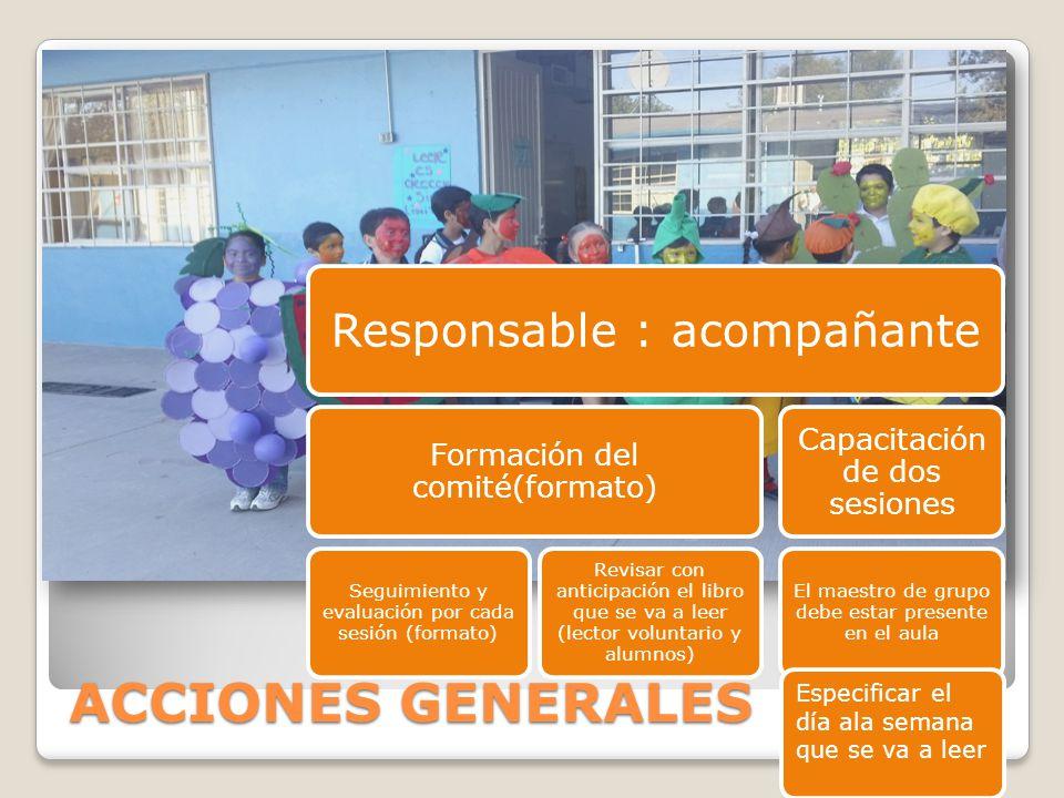 ACCIONES GENERALES Responsable : acompañante Formación del comité(formato) Seguimiento y evaluación por cada sesión (formato) Revisar con anticipación