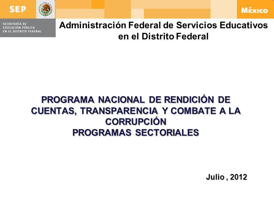 PROGRAMA NACIONAL DE RENDICIÓN DE CUENTAS, TRANSPARENCIA Y COMBATE A LA CORRUPCIÓN PROGRAMAS SECTORIALES Julio, 2012 Administración Federal de Servici