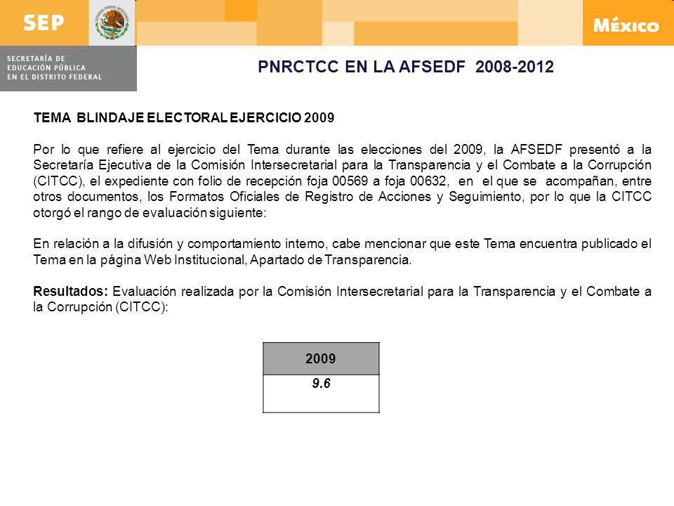 PNRCTCC EN LA AFSEDF 2008-2012 TEMA BLINDAJE ELECTORAL EJERCICIO 2009 Por lo que refiere al ejercicio del Tema durante las elecciones del 2009, la AFS