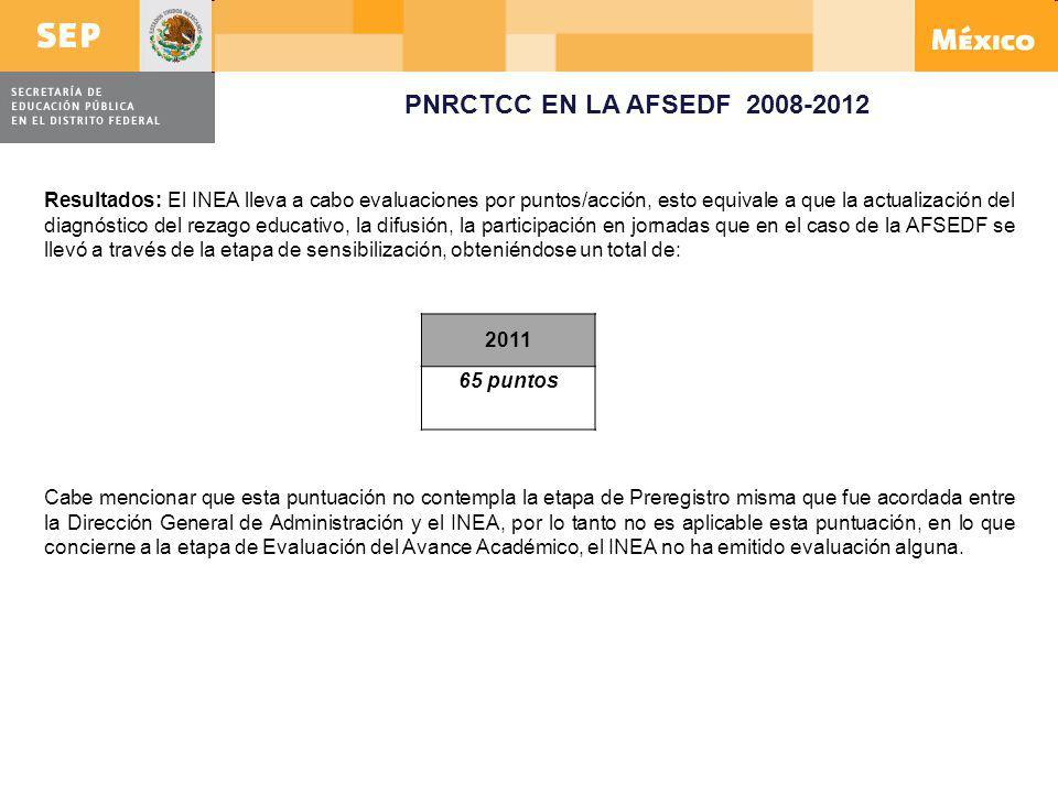 2011 65 puntos Cabe mencionar que esta puntuación no contempla la etapa de Preregistro misma que fue acordada entre la Dirección General de Administra