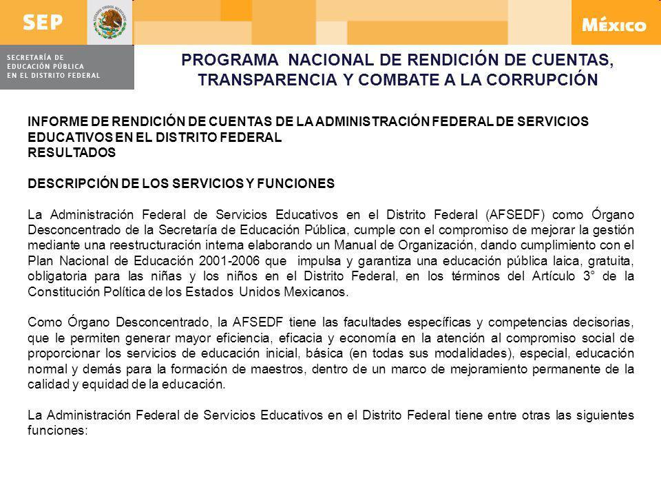 PROGRAMA NACIONAL DE RENDICIÓN DE CUENTAS, TRANSPARENCIA Y COMBATE A LA CORRUPCIÓN INFORME DE RENDICIÓN DE CUENTAS DE LA ADMINISTRACIÓN FEDERAL DE SER