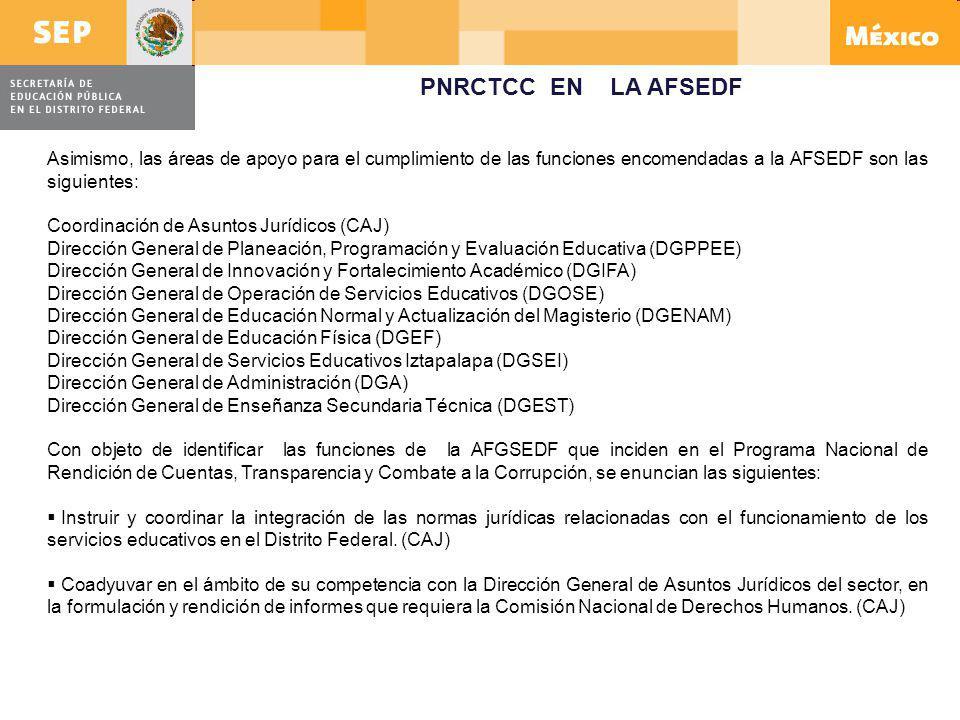 Asimismo, las áreas de apoyo para el cumplimiento de las funciones encomendadas a la AFSEDF son las siguientes: Coordinación de Asuntos Jurídicos (CAJ