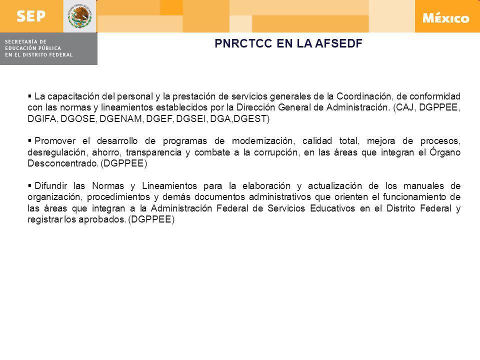 PNRCTCC EN LA AFSEDF La capacitación del personal y la prestación de servicios generales de la Coordinación, de conformidad con las normas y lineamien