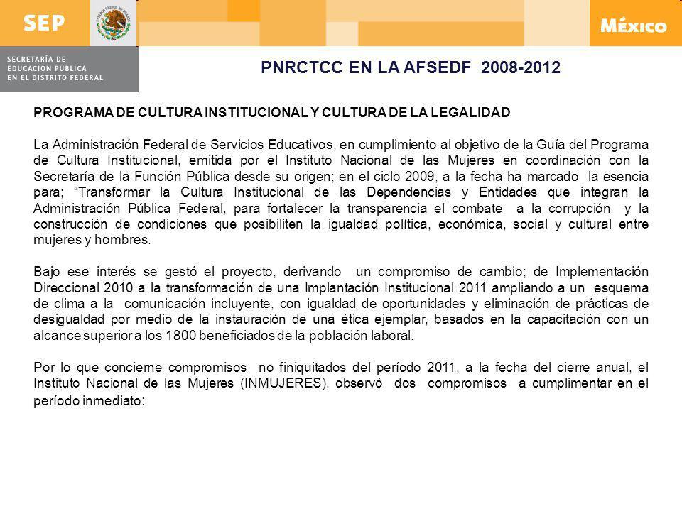 PNRCTCC EN LA AFSEDF 2008-2012 PROGRAMA DE CULTURA INSTITUCIONAL Y CULTURA DE LA LEGALIDAD La Administración Federal de Servicios Educativos, en cumpl