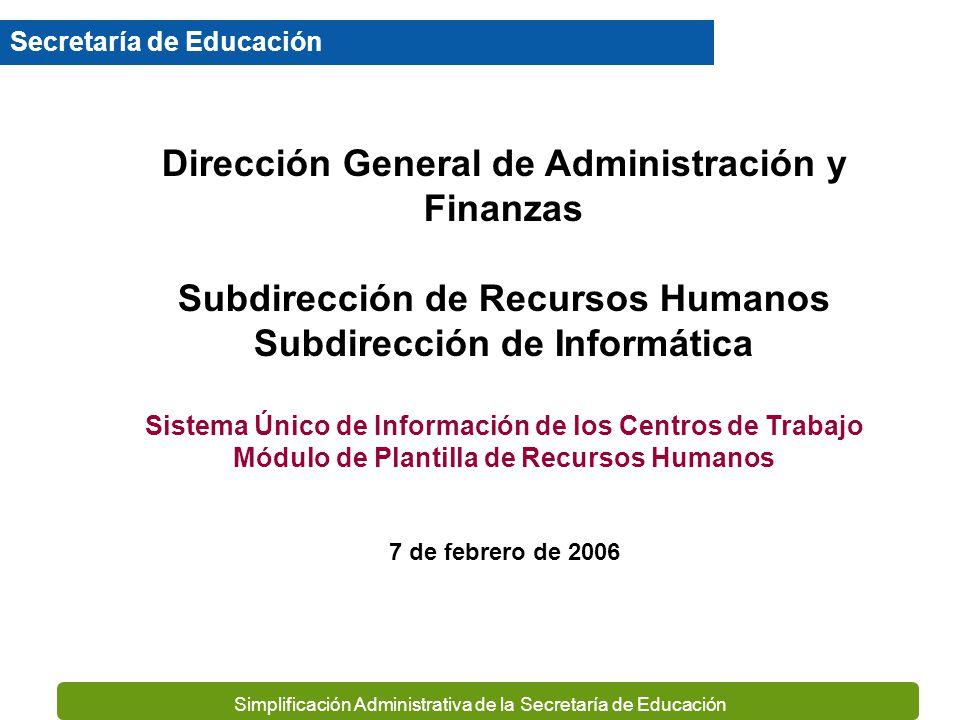 Simplificación Administrativa de la Secretaría de Educación Secretaría de Educación Dirección General de Administración y Finanzas Subdirección de Recursos Humanos Subdirección de Informática Sistema Único de Información de los Centros de Trabajo Módulo de Plantilla de Recursos Humanos 7 de febrero de 2006