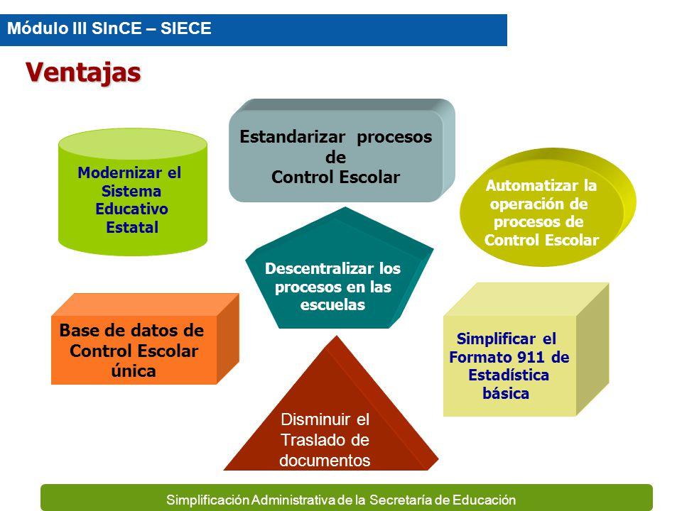 Simplificación Administrativa de la Secretaría de Educación Controla estrictamente los números de folios de los documentos oficiales y genera los repo