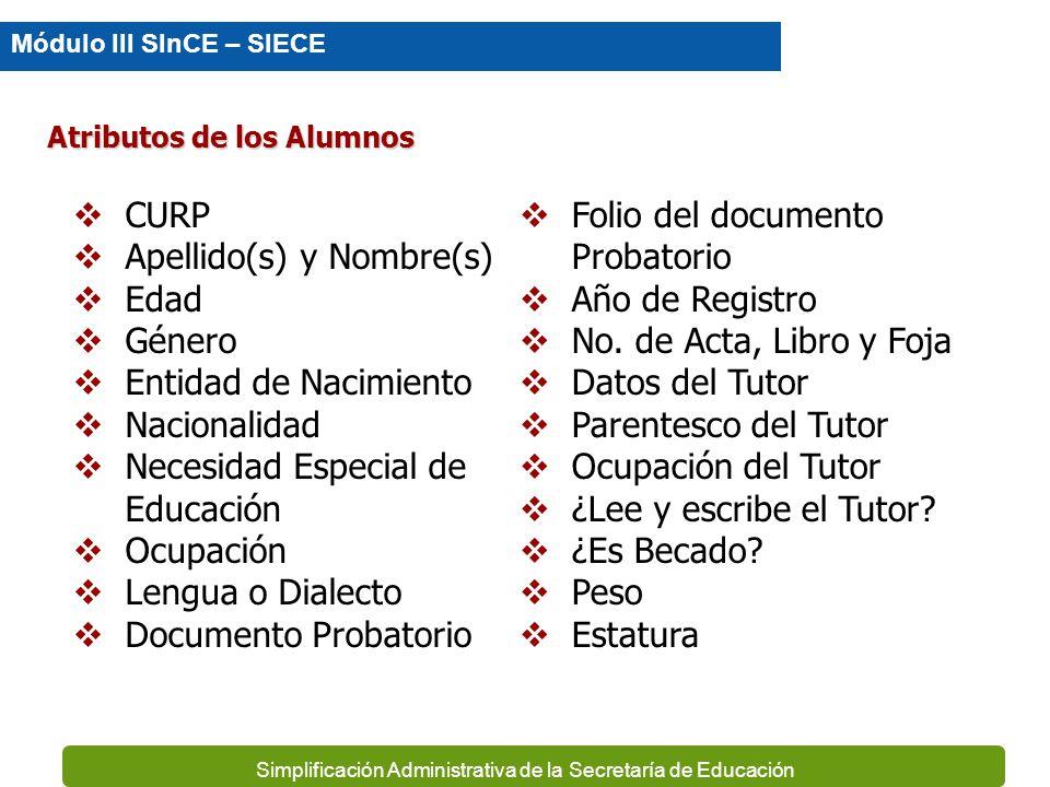 Simplificación Administrativa de la Secretaría de Educación Información que contempla el SINCE Tipo BA-Básico Nivel Secundaria Primaria Modalidad Esco
