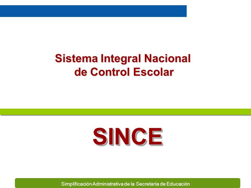 Simplificación Administrativa de la Secretaría de Educación Sistema Integral Nacional de Control Escolar