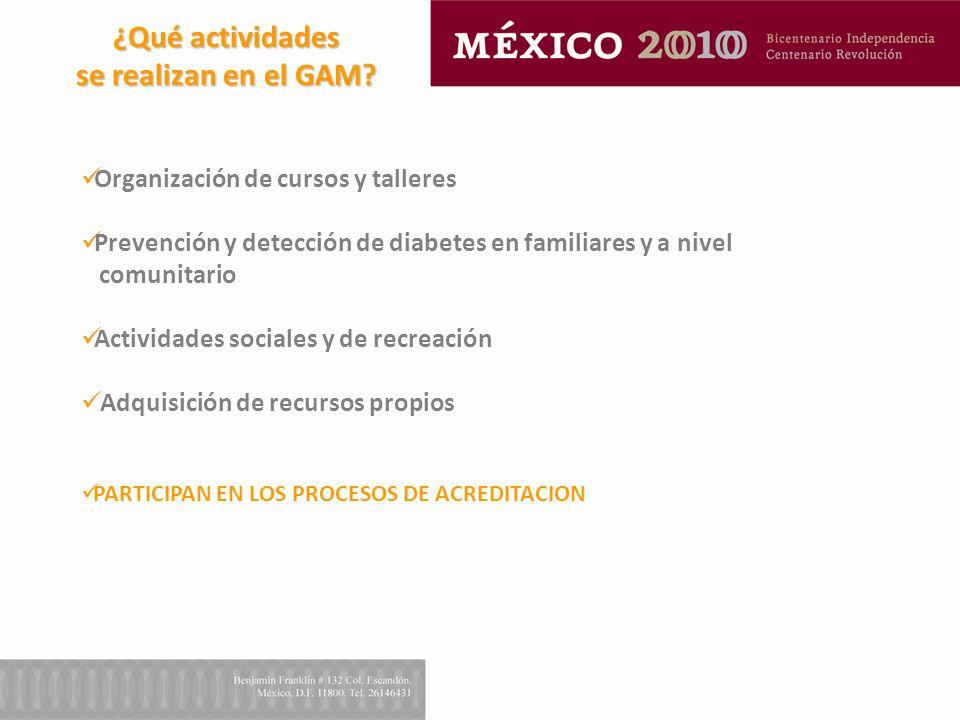 ¿Qué actividades se realizan en el GAM? Organización de cursos y talleres Prevención y detección de diabetes en familiares y a nivel comunitario Activ
