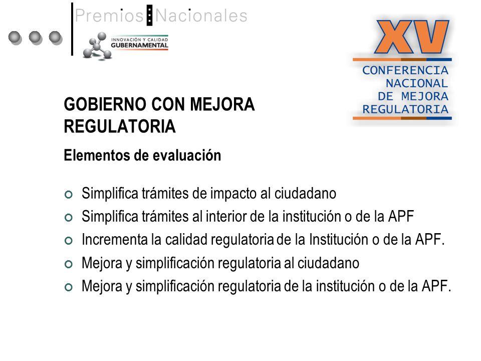 GOBIERNO CON MEJORA REGULATORIA Simplifica trámites de impacto al ciudadano Simplifica trámites al interior de la institución o de la APF Incrementa la calidad regulatoria de la Institución o de la APF.