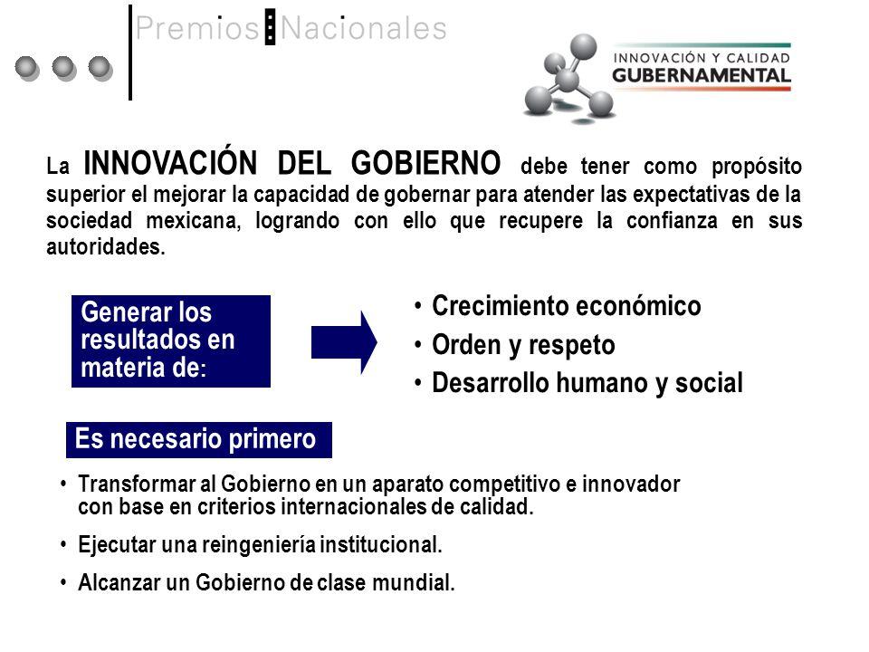 La INNOVACIÓN DEL GOBIERNO debe tener como propósito superior el mejorar la capacidad de gobernar para atender las expectativas de la sociedad mexicana, logrando con ello que recupere la confianza en sus autoridades.