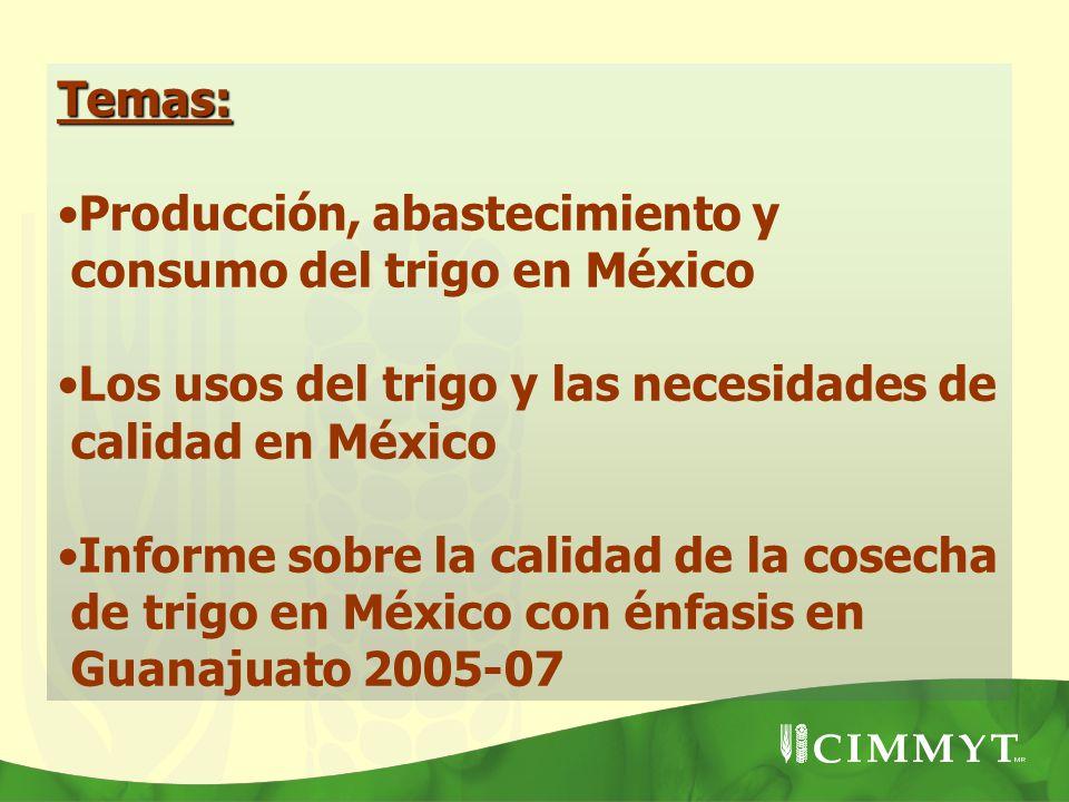 Temas: Producción, abastecimiento y consumo del trigo en México Los usos del trigo y las necesidades de calidad en México Informe sobre la calidad de
