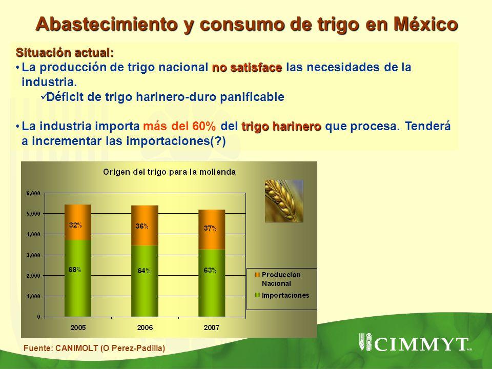 Situación actual: no satisfaceLa producción de trigo nacional no satisface las necesidades de la industria. Déficit de trigo harinero-duro panificable