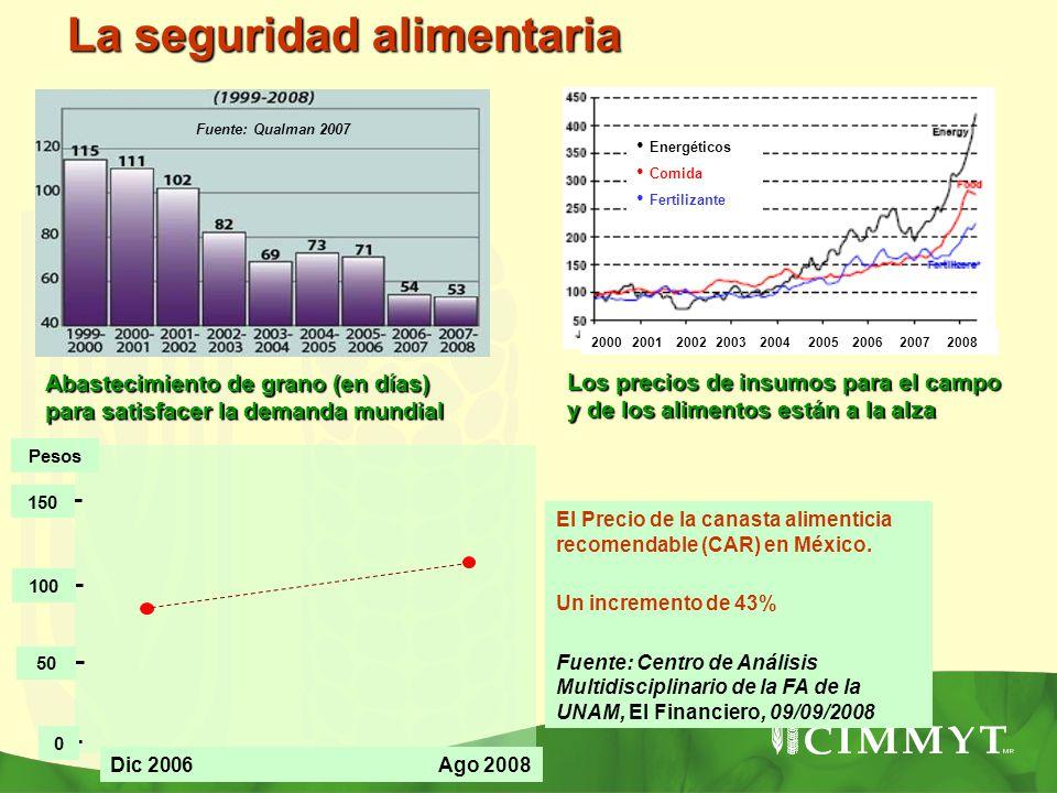 Abastecimiento de grano (en días) para satisfacer la demanda mundial Fuente: Qualman 2007 La seguridad alimentaria 2000 2001 2002 2003 2004 2005 2006