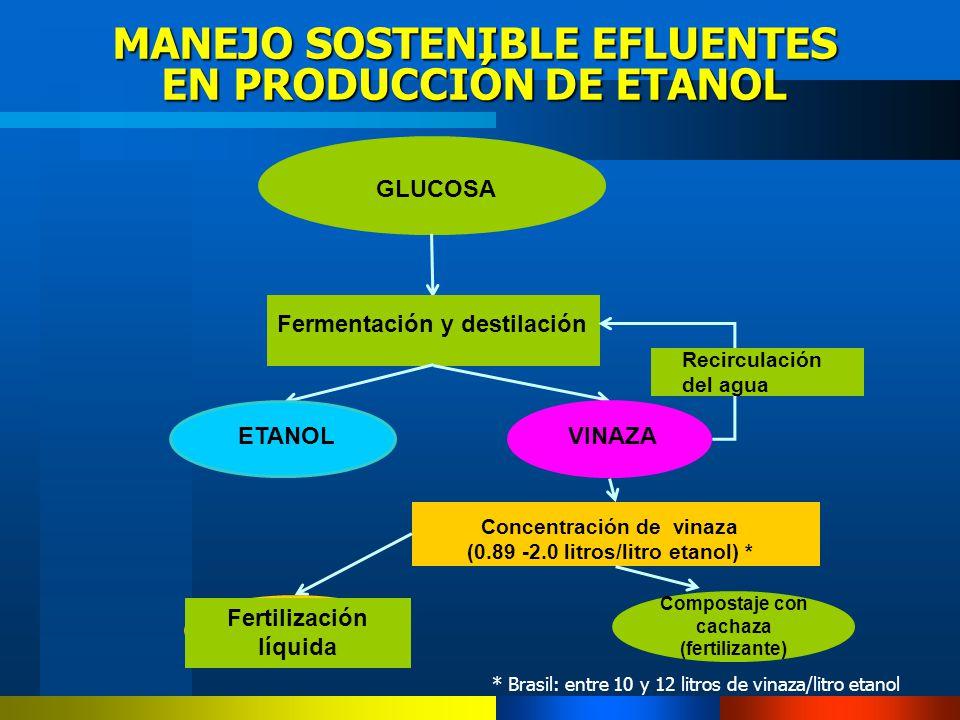 MANEJO SOSTENIBLE EFLUENTES EN PRODUCCIÓN DE ETANOL GLUCOSA Fermentación y destilación VINAZAETANOL Concentración de vinaza (0.89 -2.0 litros/litro et