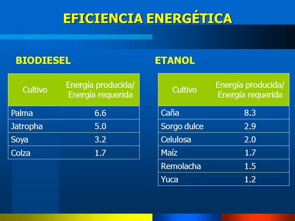 BIODIESELETANOL EFICIENCIA ENERGÉTICA Cultivo Energía producida/ Energía requerida Caña8.3 Sorgo dulce2.9 Celulosa2.0 Maíz1.7 Remolacha1.5 Yuca1.2 Cul