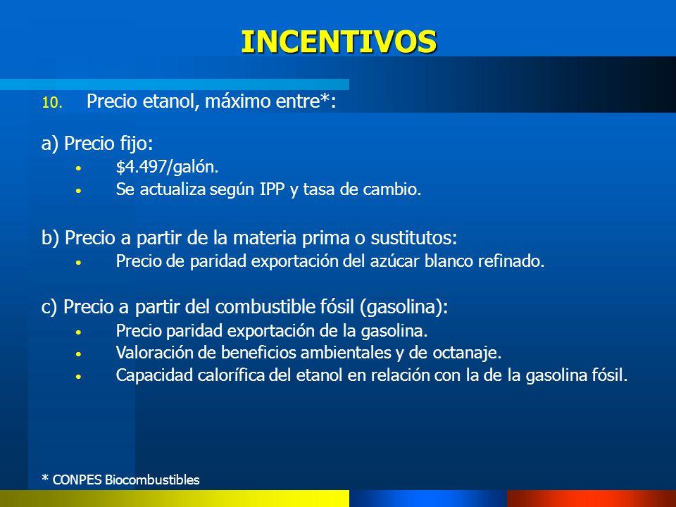 INCENTIVOS 10. Precio etanol, máximo entre*: a) Precio fijo: $4.497/galón. Se actualiza según IPP y tasa de cambio. b) Precio a partir de la materia p