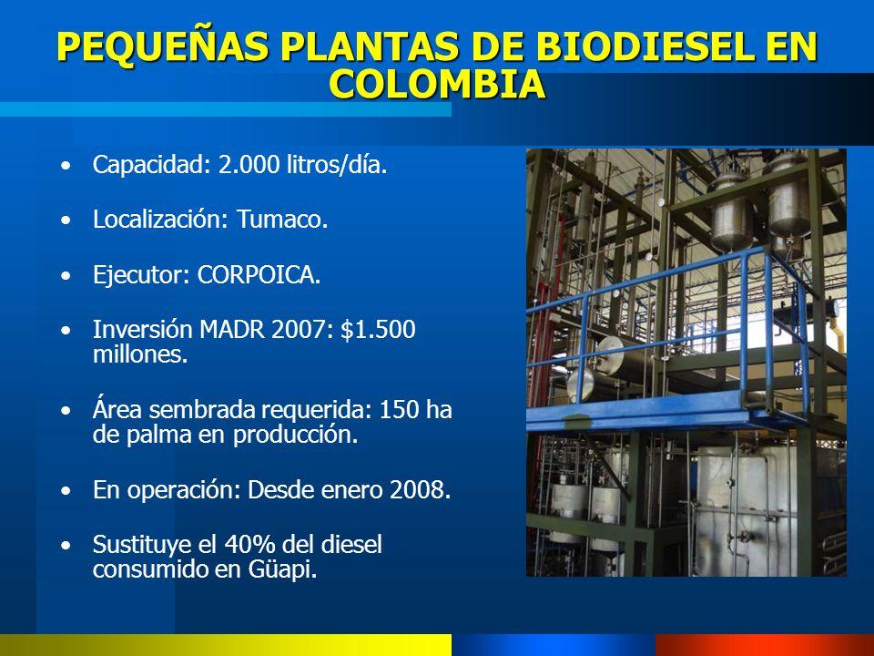 PEQUEÑAS PLANTAS DE BIODIESEL EN COLOMBIA Capacidad: 2.000 litros/día. Localización: Tumaco. Ejecutor: CORPOICA. Inversión MADR 2007: $1.500 millones.