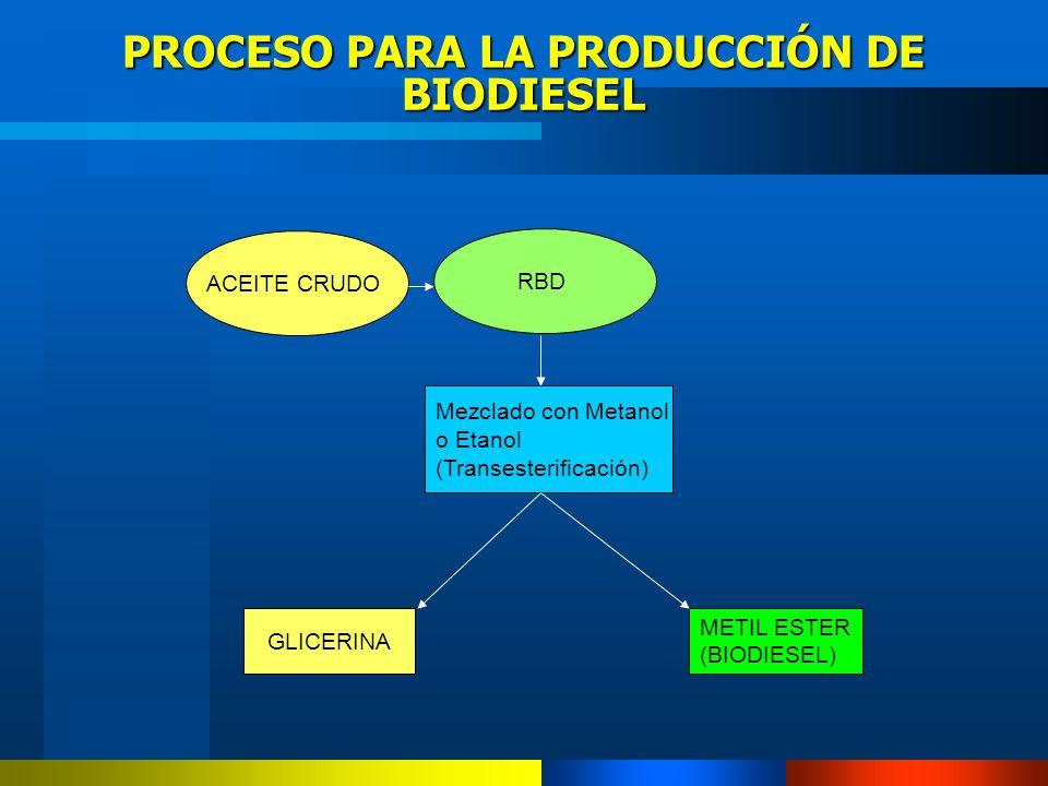 PROCESO PARA LA PRODUCCIÓN DE BIODIESEL RBD Mezclado con Metanol o Etanol (Transesterificación) METIL ESTER (BIODIESEL) GLICERINA ACEITE CRUDO