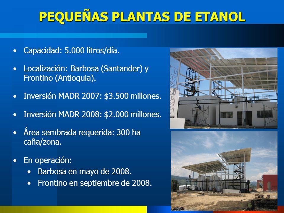 PEQUEÑAS PLANTAS DE ETANOL Capacidad: 5.000 litros/día. Localización: Barbosa (Santander) y Frontino (Antioquia). Inversión MADR 2007: $3.500 millones