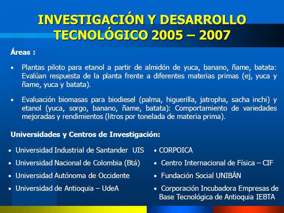 INVESTIGACIÓN Y DESARROLLO TECNOLÓGICO 2005 – 2007 Áreas : Plantas piloto para etanol a partir de almidón de yuca, banano, ñame, batata: Evalúan respu