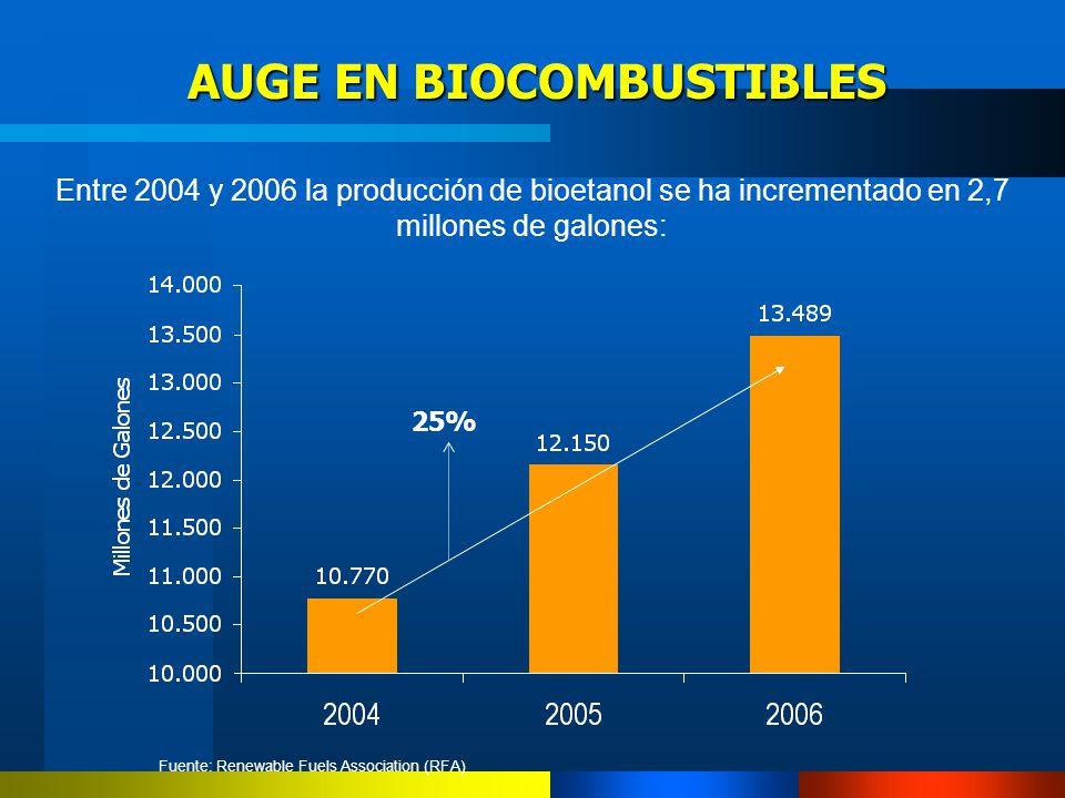 AUGE EN BIOCOMBUSTIBLES AUGE EN BIOCOMBUSTIBLES Entre 2004 y 2006 la producción de bioetanol se ha incrementado en 2,7 millones de galones: Fuente: Re