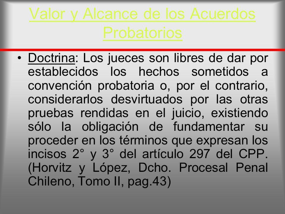 Valor y Alcance de los Acuerdos Probatorios Doctrina: Los jueces son libres de dar por establecidos los hechos sometidos a convención probatoria o, po