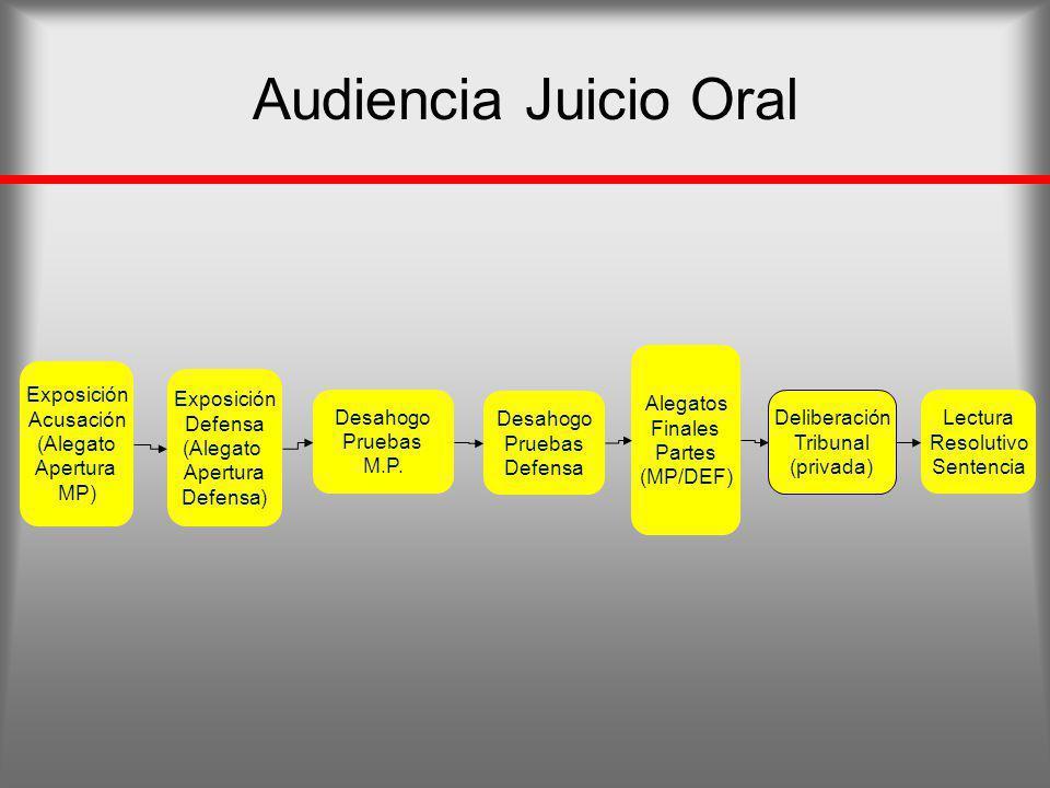 Audiencia Juicio Oral Exposición Acusación (Alegato Apertura MP) Exposición Defensa (Alegato Apertura Defensa) Desahogo Pruebas M.P. Desahogo Pruebas