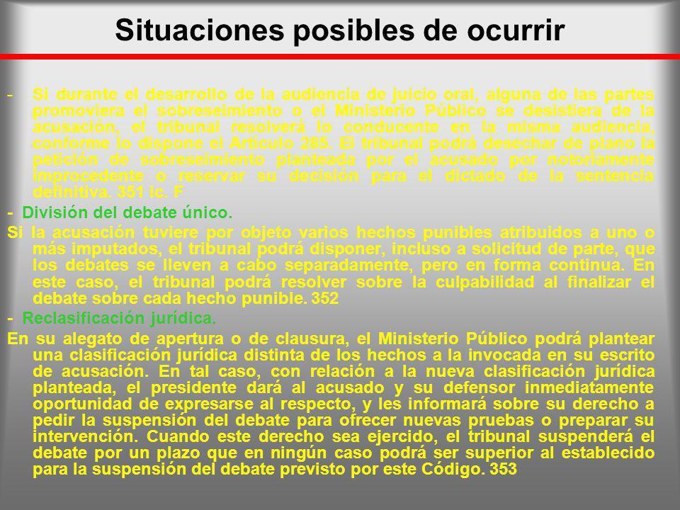 Situaciones posibles de ocurrir -Si durante el desarrollo de la audiencia de juicio oral, alguna de las partes promoviera el sobreseimiento o el Minis