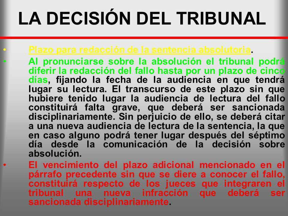 LA DECISIÓN DEL TRIBUNAL Plazo para redacción de la sentencia absolutoria. Al pronunciarse sobre la absolución el tribunal podrá diferir la redacción