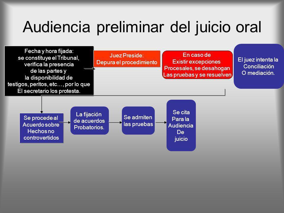 Audiencia preliminar del juicio oral El juez intenta la Conciliación O mediación. La fijación de acuerdos Probatorios. Se admiten las pruebas Se cita