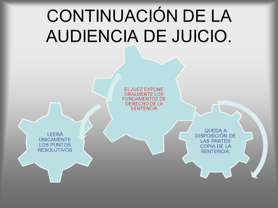 CONTINUACIÓN DE LA AUDIENCIA DE JUICIO. QUEDA A DISPOSICIÓN DE LAS PARTES COPIA DE LA SENTENCIA. LEERÁ ÚNICAMENTE LOS PUNTOS RESOLUTIVOS EL JUEZ EXPON