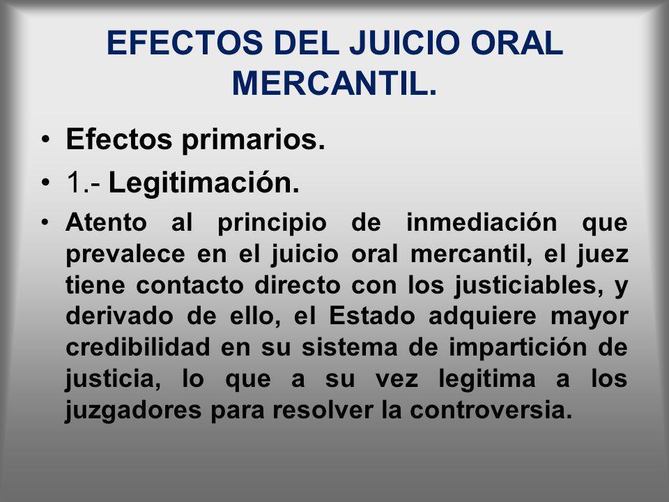 EFECTOS DEL JUICIO ORAL MERCANTIL. Efectos primarios. 1.- Legitimación. Atento al principio de inmediación que prevalece en el juicio oral mercantil,