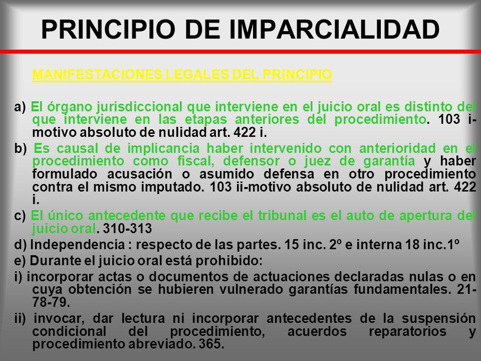 PRINCIPIO DE IMPARCIALIDAD MANIFESTACIONES LEGALES DEL PRINCIPIO a) El órgano jurisdiccional que interviene en el juicio oral es distinto del que inte