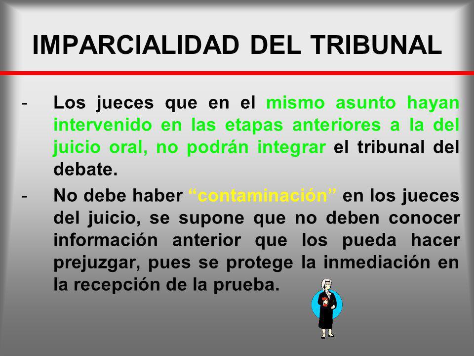 IMPARCIALIDAD DEL TRIBUNAL -Los jueces que en el mismo asunto hayan intervenido en las etapas anteriores a la del juicio oral, no podrán integrar el t