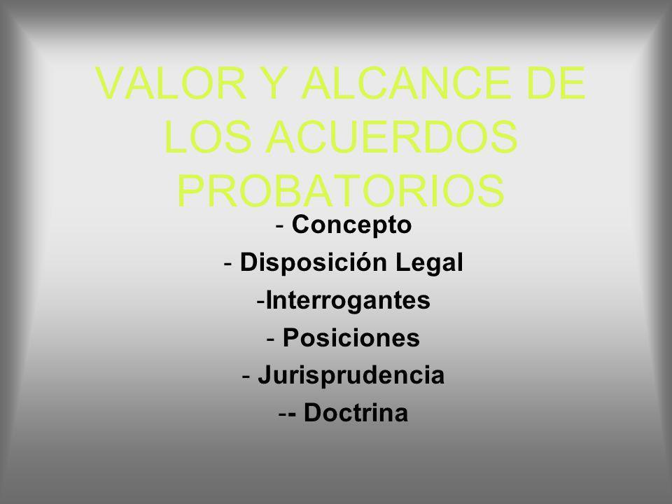 VALOR Y ALCANCE DE LOS ACUERDOS PROBATORIOS - Concepto - Disposición Legal -Interrogantes - Posiciones - Jurisprudencia -- Doctrina