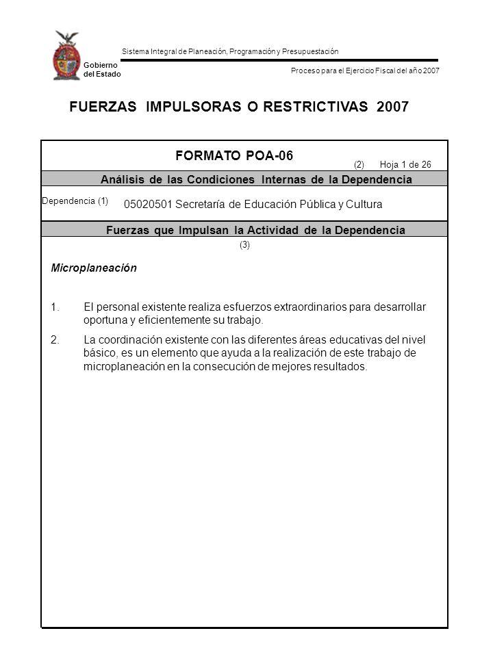 Sistema Integral de Planeación, Programación y Presupuestación Proceso para el Ejercicio Fiscal del año 2007 Gobierno del Estado FUERZAS IMPULSORAS O