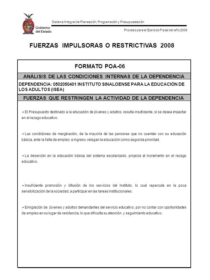 Sistema Integral de Planeación, Programación y Presupuestación Proceso para el Ejercicio Fiscal del año 2008 Gobierno del Estado FUERZAS IMPULSORAS O RESTRICTIVAS 2008 FORMATO POA-06 ANÁLISIS DE LAS CONDICIONES INTERNAS DE LA DEPENDENCIA FUERZAS QUE RESTRINGEN LA ACTIVIDAD DE LA DEPENDENCIA DEPENDENCIA: 0502050401 INSTITUTO SINALOENSE PARA LA EDUCACIÓN DE LOS ADULTOS (ISEA) El Presupuesto destinado a la educación de jóvenes y adultos, resulta insuficiente, si se desea impactar en el rezago educativo.
