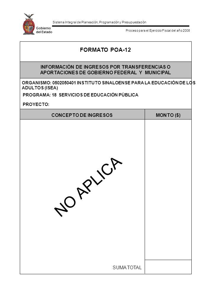 Sistema Integral de Planeación, Programación y Presupuestación Proceso para el Ejercicio Fiscal del año 2008 Gobierno del Estado SUMA TOTAL MONTO ($)CONCEPTO DE INGRESOS PROYECTO: PROGRAMA: 18 SERVICIOS DE EDUCACIÓN PÚBLICA INFORMACIÓN DE INGRESOS POR TRANSFERENCIAS O APORTACIONES DE GOBIERNO FEDERAL Y MUNICIPAL FORMATO POA-12 NO APLICA ORGANISMO: 0502050401 INSTITUTO SINALOENSE PARA LA EDUCACIÓN DE LOS ADULTOS (ISEA)