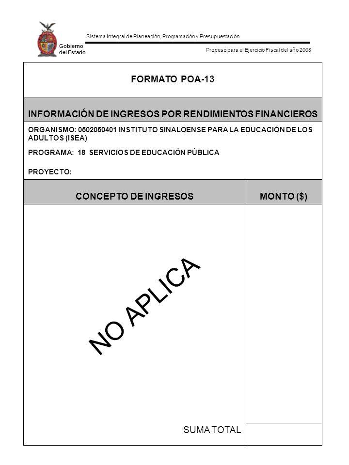 Sistema Integral de Planeación, Programación y Presupuestación Proceso para el Ejercicio Fiscal del año 2008 Gobierno del Estado SUMA TOTAL MONTO ($)CONCEPTO DE INGRESOS PROYECTO: PROGRAMA: 18 SERVICIOS DE EDUCACIÓN PÚBLICA ORGANISMO: 0502050401 INSTITUTO SINALOENSE PARA LA EDUCACIÓN DE LOS ADULTOS (ISEA) INFORMACIÓN DE INGRESOS POR RENDIMIENTOS FINANCIEROS FORMATO POA-13 NO APLICA
