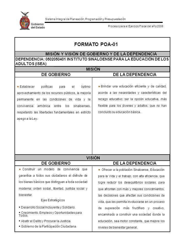 Sistema Integral de Planeación, Programación y Presupuestación Proceso para el Ejercicio Fiscal del año 2008 Gobierno del Estado DE GOBIERNODE LA DEPENDENCIA DE GOBIERNODE LA DEPENDENCIA MISIÓN VISIÓN FORMATO POA-01 MISIÓN Y VISIÓN DE GOBIERNO Y DE LA DEPENDENCIA DEPENDENCIA: 0502050401 INSTITUTO SINALOENSE PARA LA EDUCACIÓN DE LOS ADULTOS (ISEA) Construir un modelo de convivencia que garantice a todos sus ciudadanos el disfrute de los bienes básicos que distinguen a toda sociedad moderna: orden social, libertad, justicia social y bienestar.