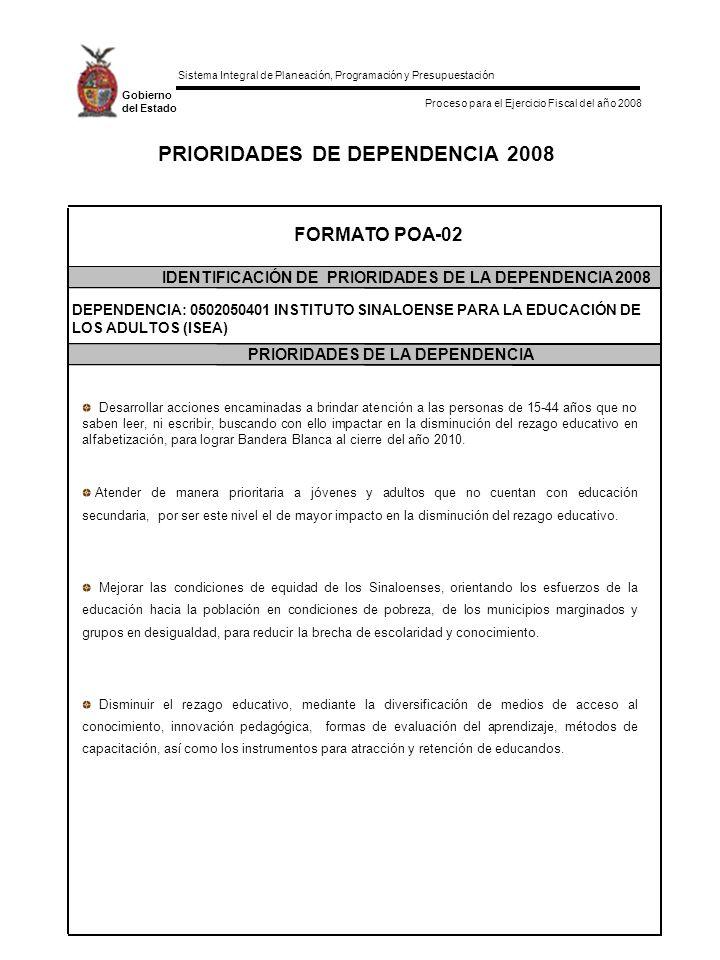 Sistema Integral de Planeación, Programación y Presupuestación Proceso para el Ejercicio Fiscal del año 2008 Gobierno del Estado PRIORIDADES DE DEPENDENCIA 2008 FORMATO POA-02 IDENTIFICACIÓN DE PRIORIDADES DE LA DEPENDENCIA 2008 PRIORIDADES DE LA DEPENDENCIA DEPENDENCIA: 0502050401 INSTITUTO SINALOENSE PARA LA EDUCACIÓN DE LOS ADULTOS (ISEA) Desarrollar acciones encaminadas a brindar atención a las personas de 15-44 años que no saben leer, ni escribir, buscando con ello impactar en la disminución del rezago educativo en alfabetización, para lograr Bandera Blanca al cierre del año 2010.
