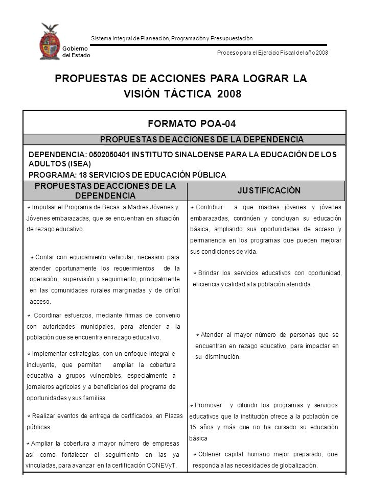 Sistema Integral de Planeación, Programación y Presupuestación Proceso para el Ejercicio Fiscal del año 2008 Gobierno del Estado PROPUESTAS DE ACCIONES PARA LOGRAR LA VISIÓN TÁCTICA 2008 PROPUESTAS DE ACCIONES DE LA DEPENDENCIA JUSTIFICACIÓN FORMATO POA-04 PROPUESTAS DE ACCIONES DE LA DEPENDENCIA DEPENDENCIA: 0502050401 INSTITUTO SINALOENSE PARA LA EDUCACIÓN DE LOS ADULTOS (ISEA) Contar con equipamiento vehicular, necesario para atender oportunamente los requerimientos de la operación, supervisión y seguimiento, principalmente en las comunidades rurales marginadas y de difícil acceso.