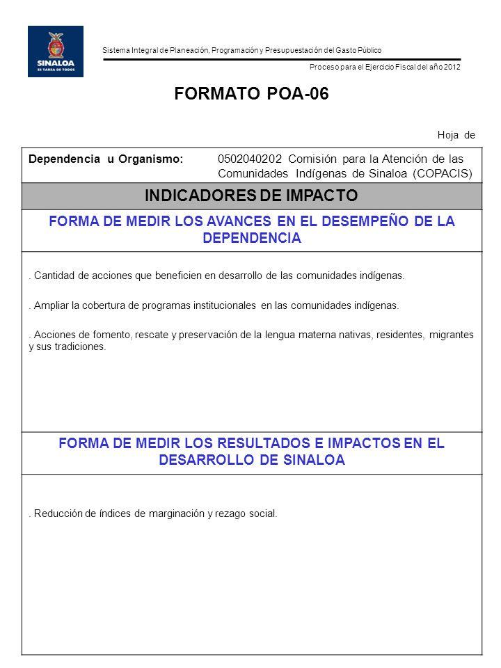 Sistema Integral de Planeación, Programación y Presupuestación del Gasto Público Proceso para el Ejercicio Fiscal del año 2012 FORMATO POA-06 Hoja de