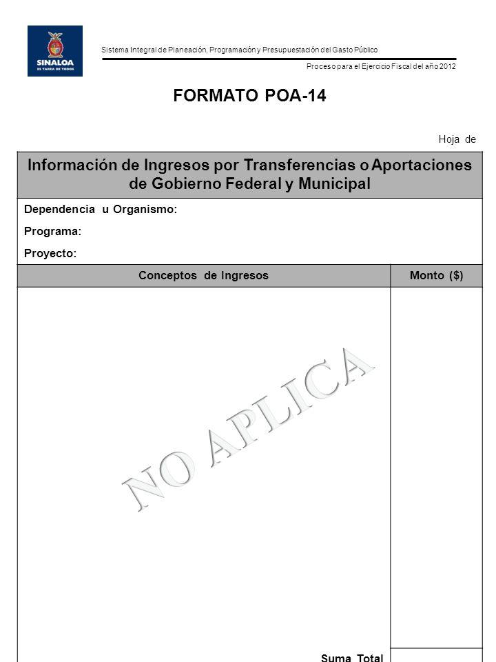 Sistema Integral de Planeación, Programación y Presupuestación del Gasto Público Proceso para el Ejercicio Fiscal del año 2012 FORMATO POA-14 Hoja de