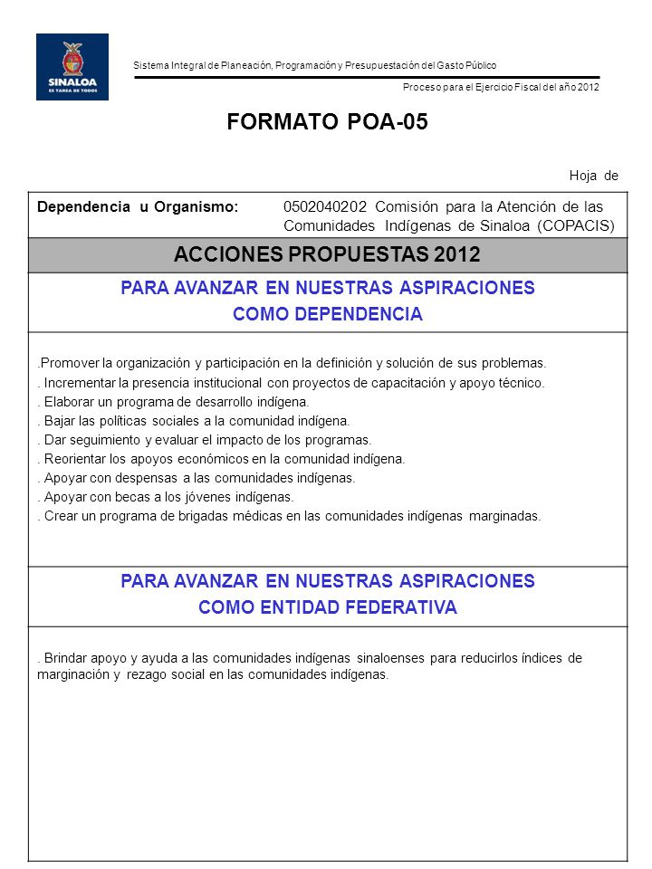 Sistema Integral de Planeación, Programación y Presupuestación del Gasto Público Proceso para el Ejercicio Fiscal del año 2012 FORMATO POA-06 Hoja de Dependencia u Organismo:0502040202 Comisión para la Atención de las Comunidades Indígenas de Sinaloa (COPACIS) INDICADORES DE IMPACTO FORMA DE MEDIR LOS AVANCES EN EL DESEMPEÑO DE LA DEPENDENCIA.