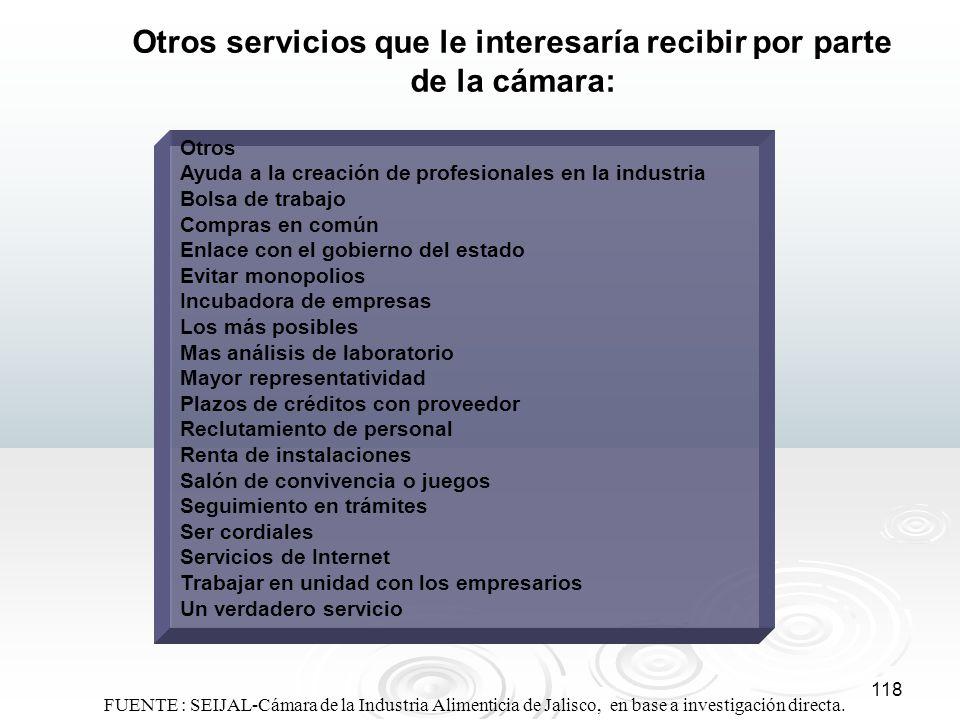 118 Otros servicios que le interesaría recibir por parte de la cámara: Otros Ayuda a la creación de profesionales en la industria Bolsa de trabajo Com
