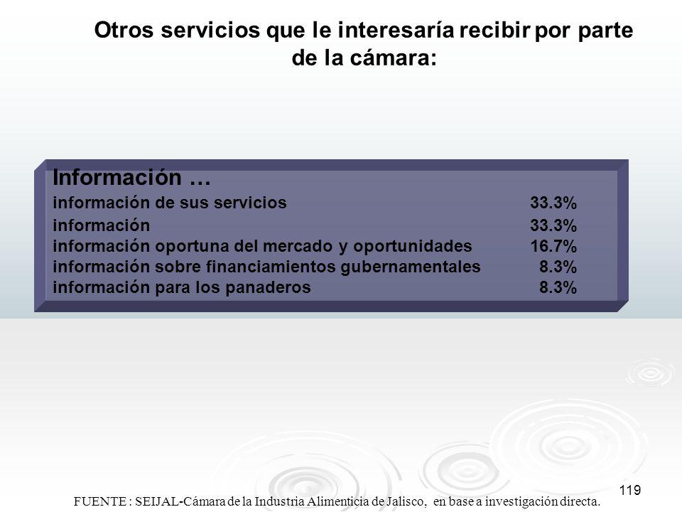 119 Otros servicios que le interesaría recibir por parte de la cámara: Información … información de sus servicios33.3% información33.3% información op