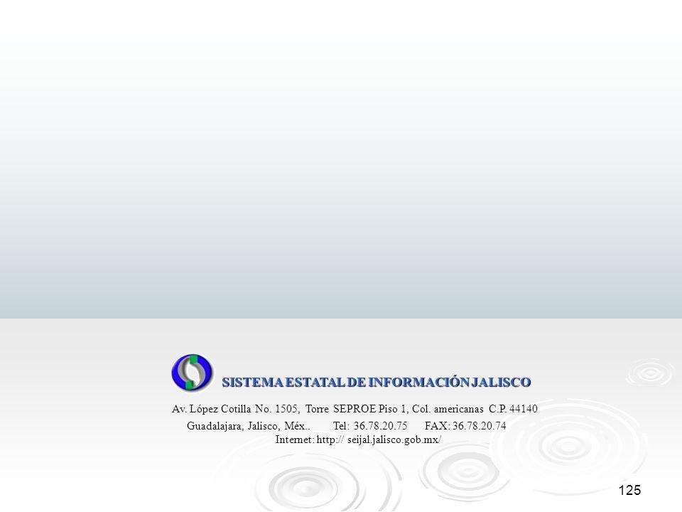 125 SISTEMA ESTATAL DE INFORMACIÓN JALISCO Av. López Cotilla No. 1505, Torre SEPROE Piso 1, Col. americanas C.P. 44140 Guadalajara, Jalisco, Méx.. Tel